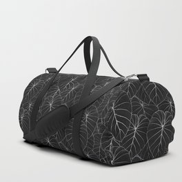 blackwork philodendron leaves Duffle Bag