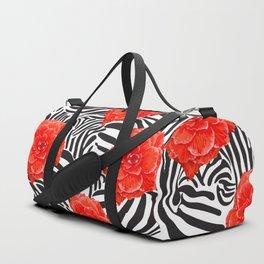 Zebra and Begonia Duffle Bag