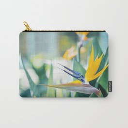 Bird of Paradise Photography, Green Orange Aqua Blue, Tropical Flower Nature Botanical Carry-All Pouch