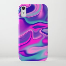 Liquid Bold Vibrant Colorful Abstract Paint in Blue, Pink and Purple iPhone Case