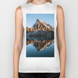 Calm Mountain Lake at Sunset - Landscape Photography Biker Tank