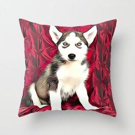 Cute Siberian Husky Puppy  Throw Pillow