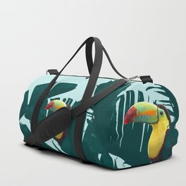 Green Toucan Tropical Banana Leaves Pattern Duffle Bag