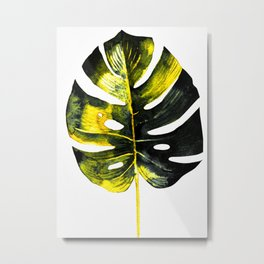 Monstera Leaf Water color In Yellow And Grey Metal Print