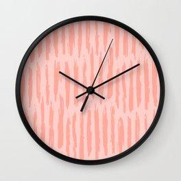 Rose Pink Vertical Dash Stripes Wall Clock