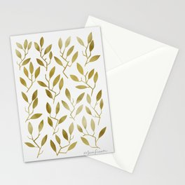 Leafy Twigs - Gold Stationery Cards