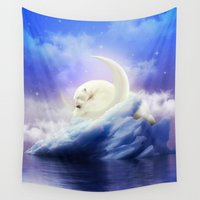 cartoons Wall Tapestries featuring Guard Your Heart. Protect Your Dreams. (Polar Moon) by soaring anchor designs