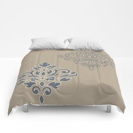 Scroll Damask Art I (outline) Crm Blues Sand Comforters