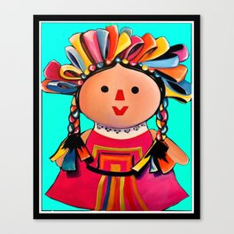 Mexican Maria Doll (turquoise) Canvas Print