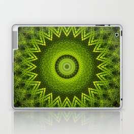 Mandala with green  fern leaves ornaments Laptop & iPad Skin