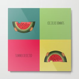 Summer Detected Watermelon Metal Print