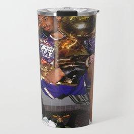 Kobe#Bryant Celebration with Trophies in Bathroom Canvas Wall Art, Basketball Canvas Frame  Travel Mug