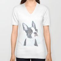 boston terrier V-neck T-shirts featuring Boston Terrier by S'ANNie