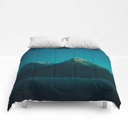 Magical Blue Mountains Star Night Sky Ombre Sunset Comforters