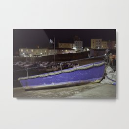 Blue Boat at Night Metal Print