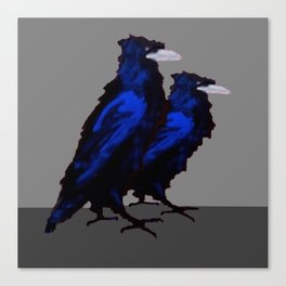 Two Blue  Crows Art Design on Grey Canvas Print