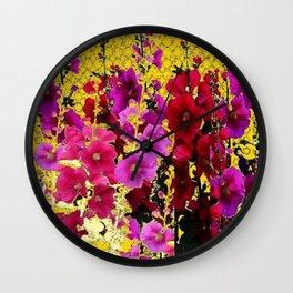 DECORATIVE  PINK & RED HOLLYHOCKS YELLOW GARDEN Wall Clock