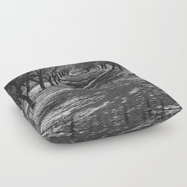 Black & White Almond Orchard Pencil Drawing Photo Floor Pillow