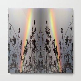 Rainbow Silhouette Square Metal Print