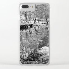 River Reflections - Black & White Clear iPhone Case