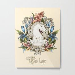 Vintage Floral Horse Crest Metal Print