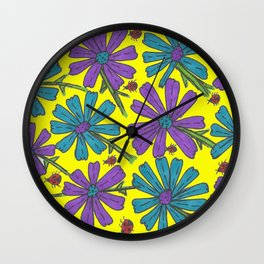 Cosmos and Ladybugs on Yellow Wall Clock