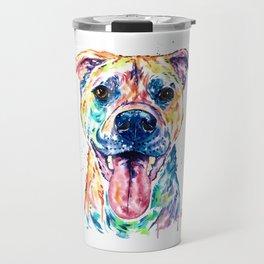 Bullmastiff Watercolor Colorful Pet Portrait Painting, Dog Painting, Mastiff Travel Mug