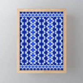 indigo shibori print Framed Mini Art Print