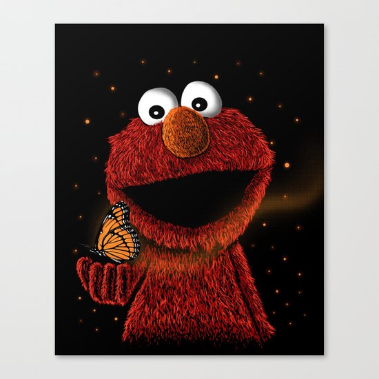 Elmo and Little Butterfly Canvas Print