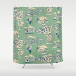 Georgian Bay Toille de Jouy - Jade Shower Curtain
