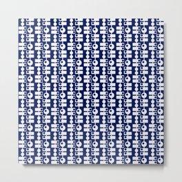 """Flat"" White on Blue Metal Print"