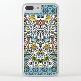 flower and birds in Persian blue mosaic Clear iPhone Case