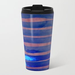 Blue Ice Lines Stripe Travel Mug