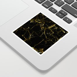 Golden Marble - Black and gold marble pattern, textured design Sticker