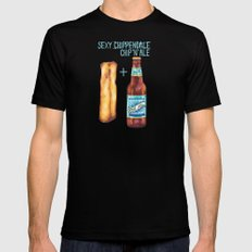 Food Pun - Sexy Chip 'N' Ale Black Mens Fitted Tee MEDIUM