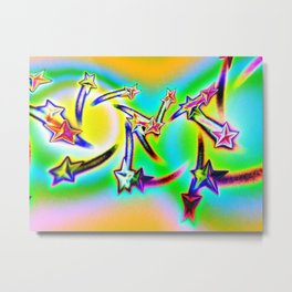 Star Struck Psychedelic Neon Metal Print