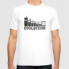 Cell Phone Evolution SMALL White Mens Fitted Tee