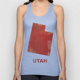 Utah map outline Tomato stained watercolor texture Unisex Tank Top