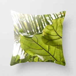 Tropical vibes leaves - Summer Light Throw Pillow