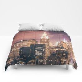 New York City - Chrysler Building Lights Comforters