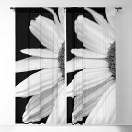 Half Daisy in Black and White Blackout Curtain