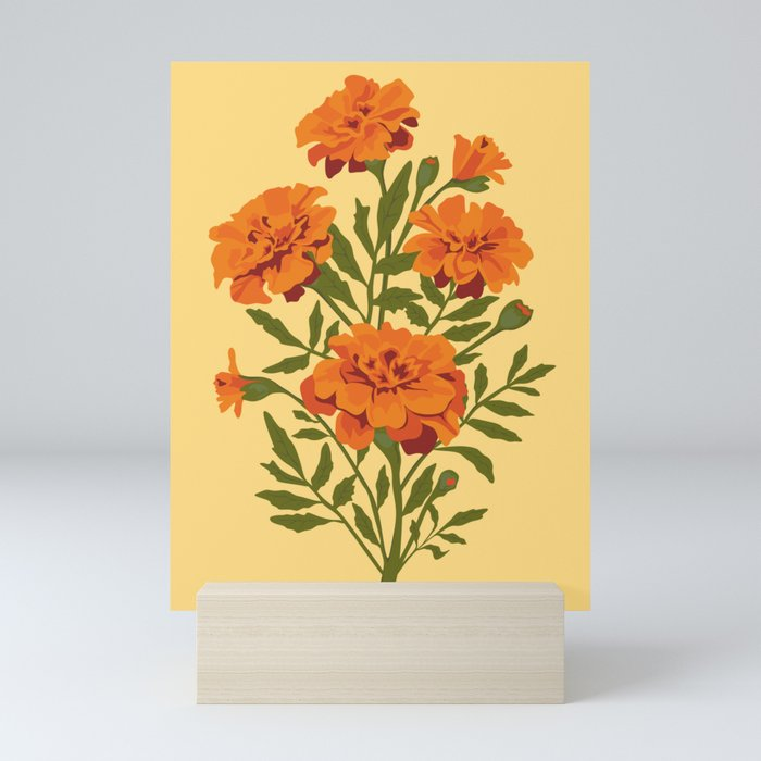 Marigold Flowers Mini Art Print