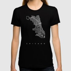 CHICAGO MAP MEDIUM Womens Fitted Tee Black