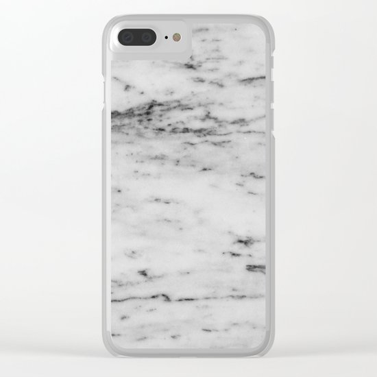 White Marble with Black Flecks Clear iPhone Case