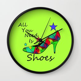 All You Need Is Shoes Green #fashion Wall Clock