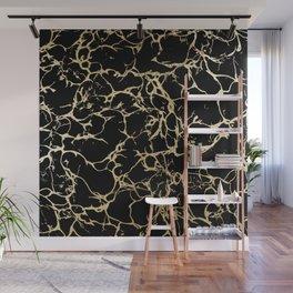 Stylish black faux gold foil elegant marble Wall Mural