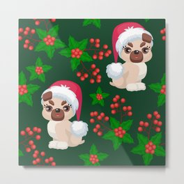 Cute, Cranky Christmas Puppies With Eyelash Extensions Pattern Metal Print