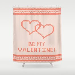 Knitted background with hearts Shower Curtain