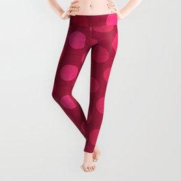 """Rose fuchsia Burlap Texture & Polka Dots"" Leggings"