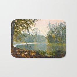 John Atkinson Grimshaw - The Quiet of the Lake, Roundhay Park - Victorian Retro Vintage Painting Bath Mat